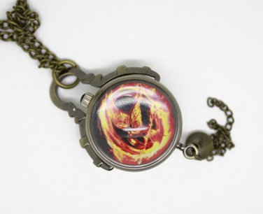 Antiqued Brass Vintage Style Classic The Hunger Games RERIP Ball Pocket Watch Necklace