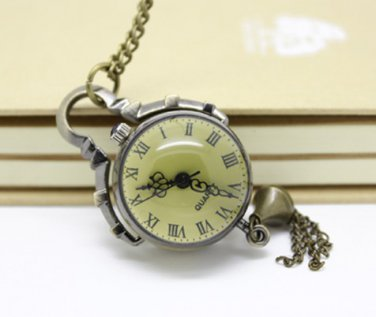 Antiqued Brass Vintage Style Classic Ball Pocket Watch Necklace