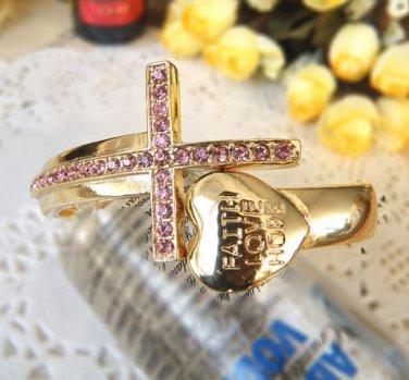 Rhinestone Crystal Cross Fashion Punk Heart Bracelet Bangle