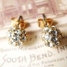 Stylish Retro Inlay Rhinestone Ball Earrings Vintage Style Ear Stud