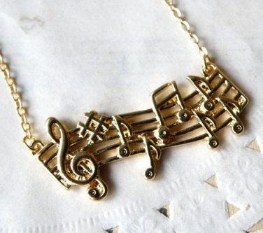 Vintage Style Vogue Gold Music Note Necklace