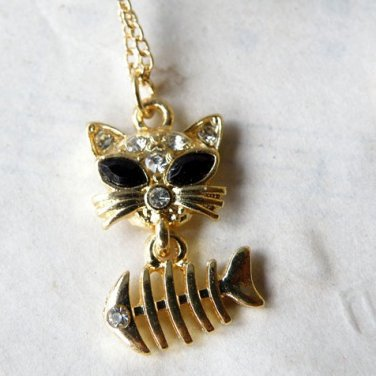 Vintage Style Vogue Gold Inlay Rhinestone Lovable Cat Fish Necklace