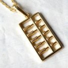 Vintage Style Vogue Gold Inlay Lovable PUNK Abacus Necklace