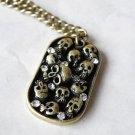 Vintage Style Vogue Antiqued Brass PUNK Skull Skeleton Pendeloque Cut Necklace