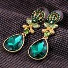 Vogue Gold Inlay Rhinestone Crystal Dinner Wedding Bridal Bridemaids Gift Green Earrings