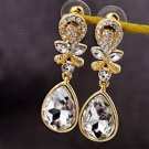 Vogue Gold Inlay Rhinestone Crystal Clear Dinner Wedding Bridal Bridemaids Gift Earrings