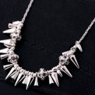 vintage style Vogue Silvery Inlay Rhinestone Crystal Dinner Wedding Bridal Bridemaids Gift necklace
