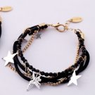 Star Charms Crystal Leather Cord Multi Strand Bracelet