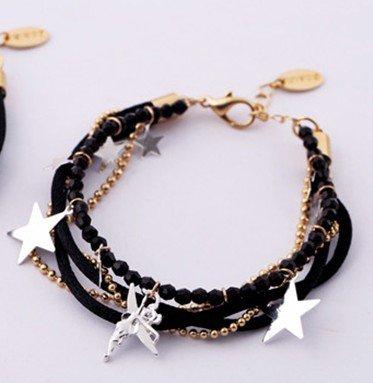 Star Charms Crystal Leather Cord Multi Strand Bracelet