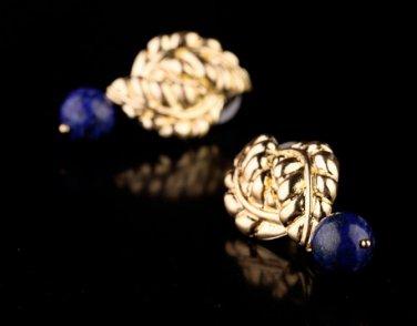 Antiqued Gold Vintage Style Classic Ear Stud Semiprecious Stone Ear Stud