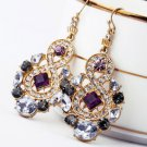 Antiqued Gold Vintage Style Classic Vogue Earrings Rhinestone Earrings