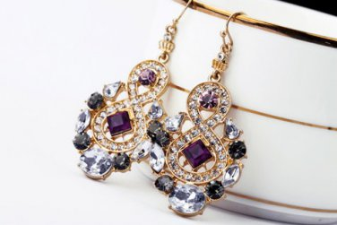 Antiqued Gold Vintage Style Classic Vogue Earrings Rhinestone Earrings