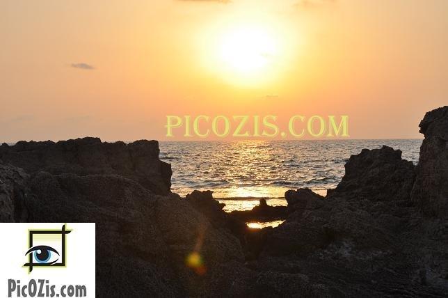 """BSU005201109 - Sunset - Hof Dor, Israel 20x25cm (8x10"""")"""