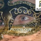VPE014201109 – Gold and black Venetian mask photograph print
