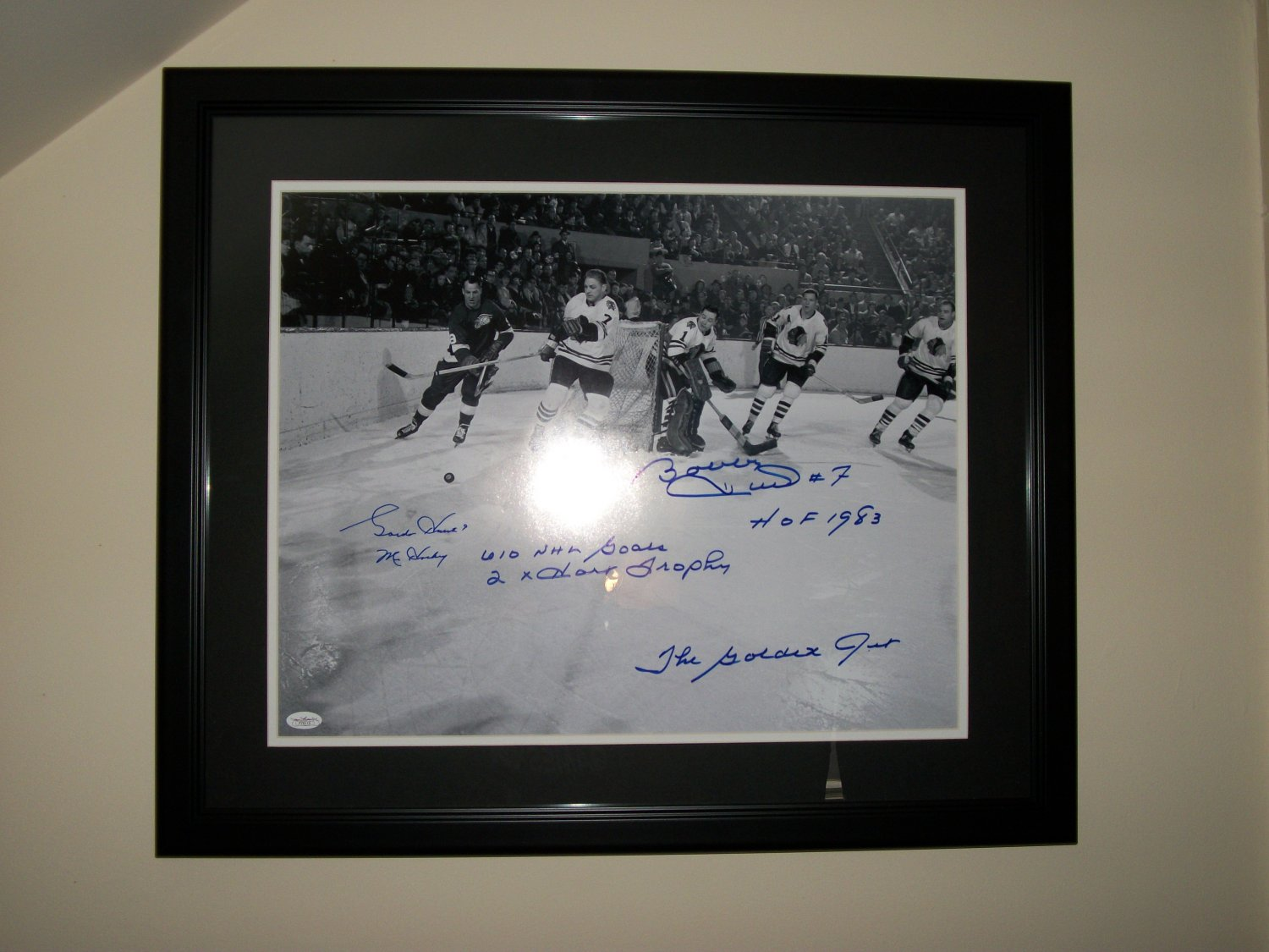 Bobby Hull and Gordie Howe autographed 16x20 photo PROFESSIONALLY FRAMED