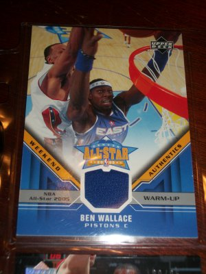 Ben Wallace 05-06 Upper Deck basketball card- Weekend Authentics Warm-Up