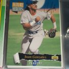 Juan Gonzalez 93 Upper Deck baseball card- Future Heroes with gold signature