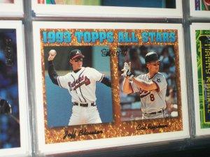 Cal Ripken/Jeff Blauser 93 Topps All-Star baseball card- Gold Insert