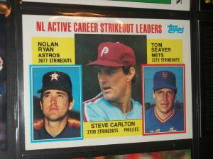 Nolan Ryan/Seaver/Carlton 1984 Topps NL active strikeout leaders