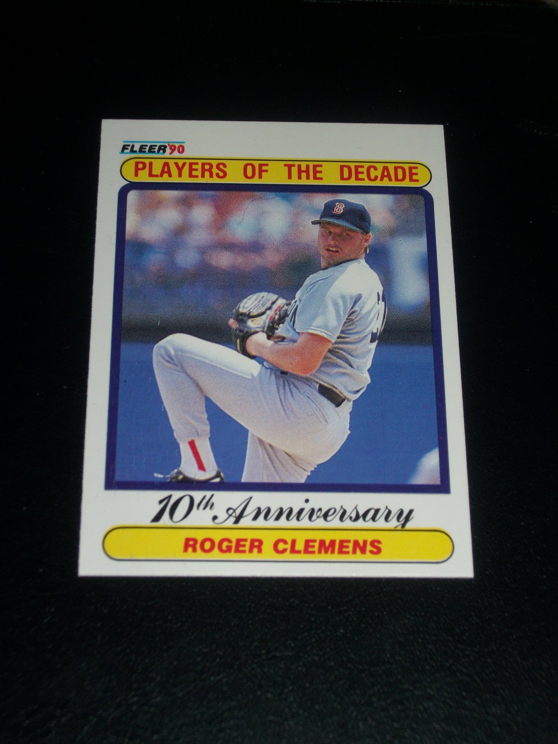 """Roger Clemens 1990 Fleer """"Players of the Decade"""" baseball card"""