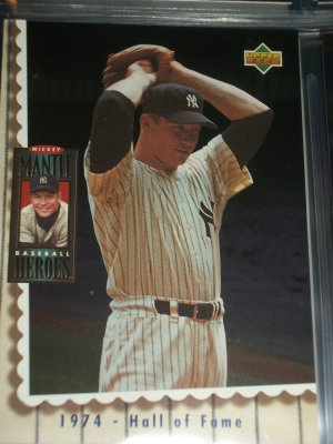 """Mickey Mantle 94 UD Rare """"Baseball Heroes"""" insert series- #71/72 1974 HALL OF FAME"""