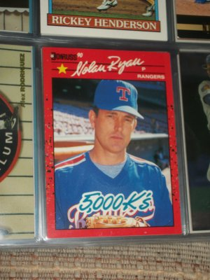 "Nolan Ryan 1990 Donruss baseball card- ""5000 K's"""