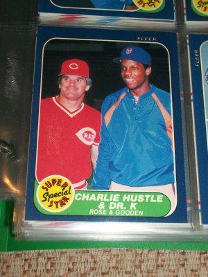 "Rare 86 Fleer ""Super Star Special"" Rose+Gooden Baseball Card"