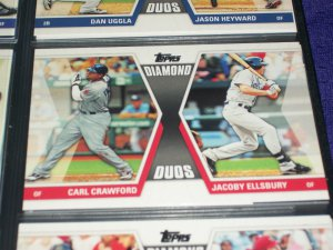 "2011 Topps ""Diamond Duos"" Crawford+Ellsbury baseball card"