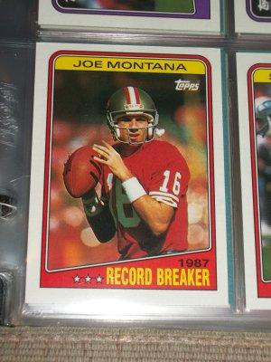 Joe Montana 1988 Topps Rare Quot Record Breakers Quot Football Card