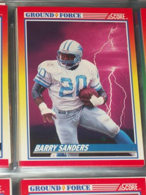 Barry Sanders Rare 1990 Score Ground Force Football Card