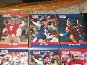 Young/Kelly/Elway 1990 Pro Set Football Cards