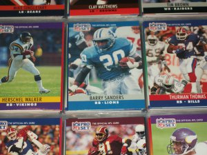 Walker, Sanders, Thomas 1990 Pro Set Football Cards