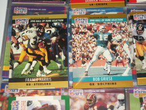 """Bob Griese+Franco Harris 1990 Pro Set """"Hall of Fame Selection"""" Football Cards"""