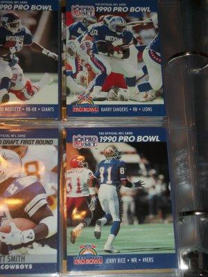 "Jerry Rice+Barry Sanders 1990 Pro Set ""Pro Bowl"" Football Cards"
