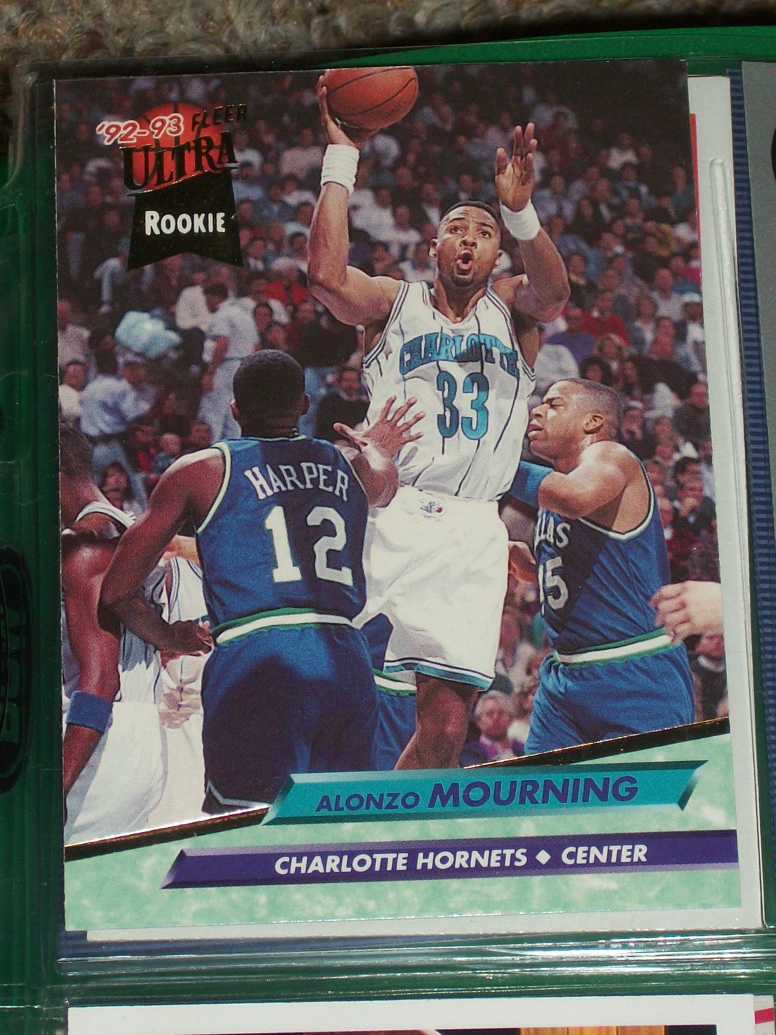 alonzo mourning 9293 fleer ultra rookie basketball card