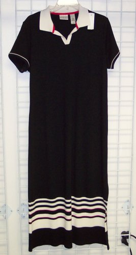 Villager Sport Petite Black Knit Dress Size L 109-356 Once Is Never Enough