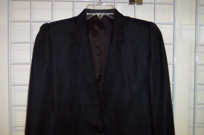 Vintage 100% Silk Black Bolero Blazer Skirt Suit Size 10 101-8suit