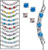 Avon August Birthstone Colors Frontal Necklace & Earrings Gift Set