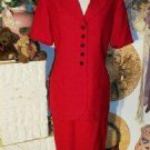 Vintate KASPER FOR A.S.L. Women's Career Lined Red Skirt Suit SIZE 10 Ladies Career Clothing