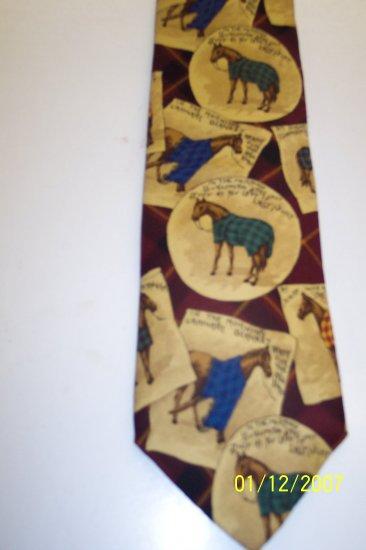 Lands End Men's Mens Necktie Neck Tie Ties Horse Western Print 101-22htie location98