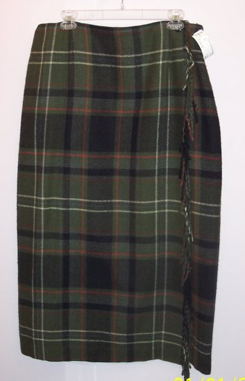NWOT Worthington Wrap Skirt with Fringe Olive Plaid ~ Size 18 ~ 101-1211 Once Is Never Enough
