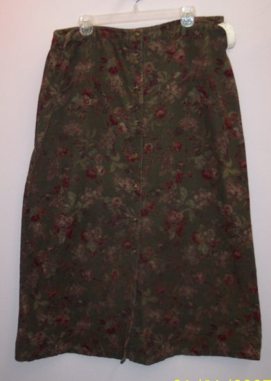 Eddie Bauer Corduroy Floral Print Skirt Size 18 101-1210 Once Is Never Enough