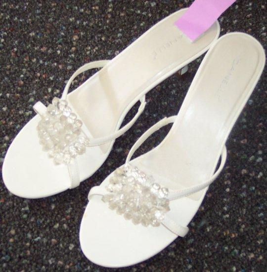 Danelle Open Toe Slides Sandals White Size 10M 101-31 location88