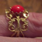 Vintage Size 6 Costume Jewelry Goldtone Ring Filagree Awesome Orange Cabachon 101-2368