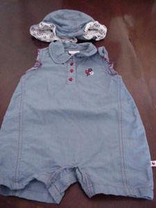 Baby Healthtex Romper & Hat Blue with Red Trim Size 12 Months EUC box8