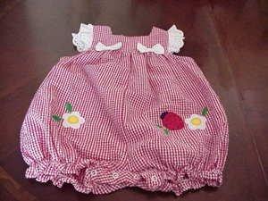 Boutique Little Bitty Infant Gingham Romper Ladybug Size 12 Months NWOT box8