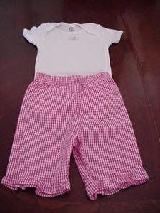 Gerber Onsie Size M & Fisher Price Pink Gingham Pants Size 12 Months Infant Girls Clothing box11