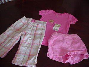 Baby Gap Pants Faded Glory NWT Onesie Top & Circo Shorts Size 12 Months Infant Girls Clothing box11