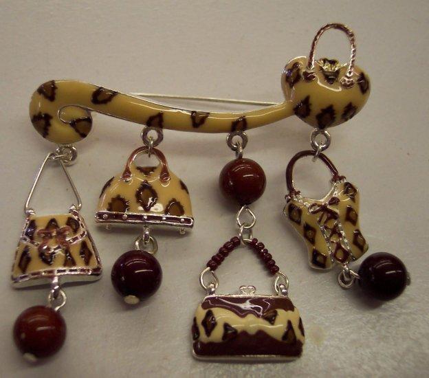 Funky Purse Pin Exotic Animalistic Fun Design Brooch 101-005pin Collectible Costume Jewelry