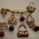 Funky Purse Pin Exotic Animalistic Fun Design Brooch 101-005pin Collectible Costume Jewelry